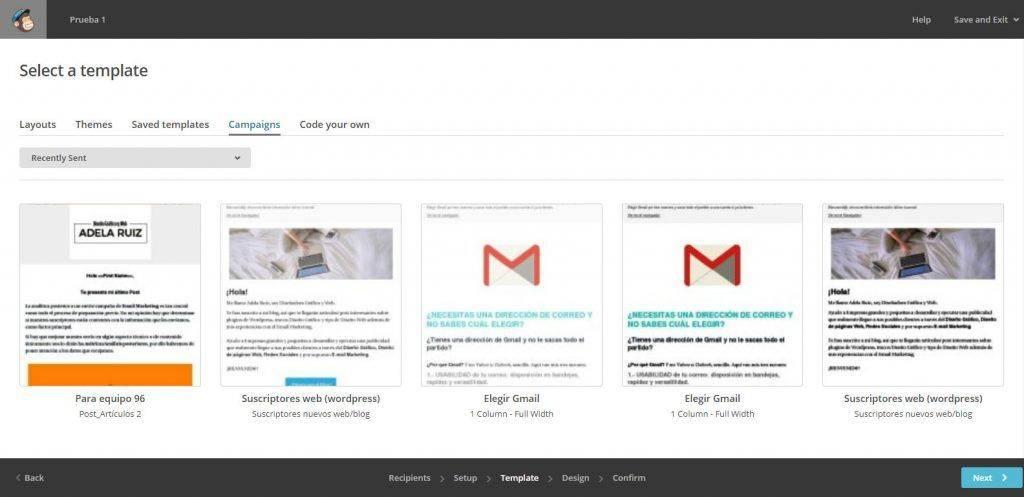 Cómo crear una newsletter con Mailchimp resto de campañas